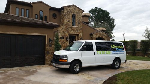 our carpet cleaning truck in action